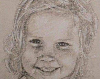 Charcoal and white pencil sketch on tan tone paper