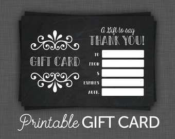 Gift Certificate - Black - Chalkboard - PRINTABLE - Gift Certificate