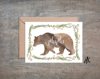 PRINTABLE: 5x7 Mama Bear Card / Mother's Day Card