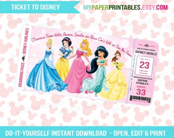 Printable Ticket To Disney DIY Personalize INSTANT DOWNLOAD Disney World Disneyland Boarding Pass Surprise Mickey Minnie Mouse Kids Disney