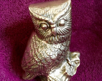 Vintage Solid BRASS OWL FIGURINE on a Log