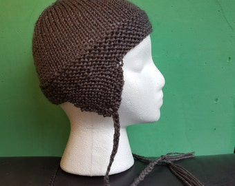 supersoft charcoal grey toddler sized earflap hat