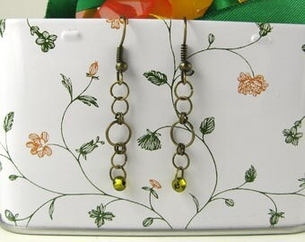 Chain metallic rings earrings with glass beads