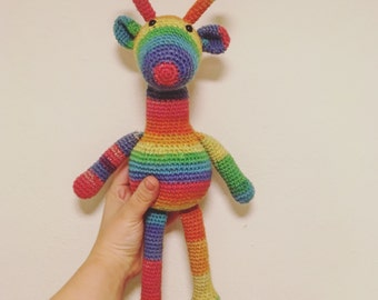 Calvin the Rainbow giraffe crochet
