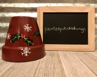 Christmas Theme Hand Painted Flower Pot