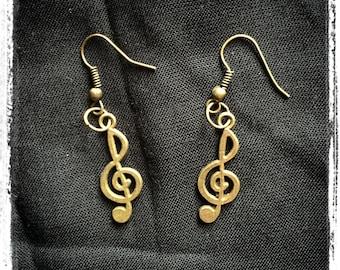 Key of g - music - musicians - music notes earrings