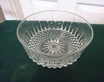 Arcoroc France Cut Glass Serving Bowl/Large/Vintage/1970s