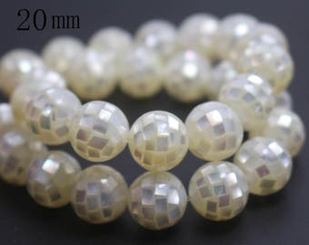 20mm Natural Beige Abalone Mosaic Round Beads