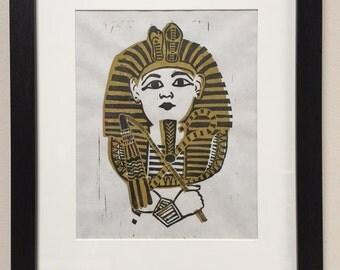 King Tut Pharaoh Linocut Print