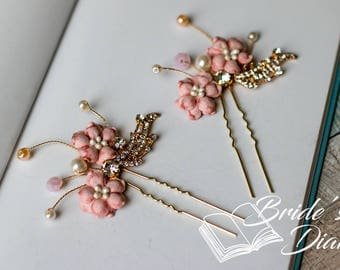 1pcs Bridal hair pins, pearl hair pins, golden color hair pins with pink flowers