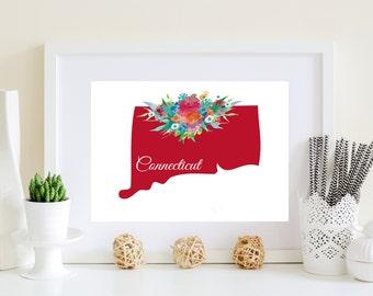 Connecticut Floral art, Connecticut poster, Connecticut art, CT art, CT poster, CT floral art, ct digital art, ct printable, ct art print