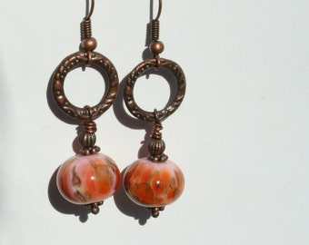 Fall lampwork bead and Antique copper ring earrings