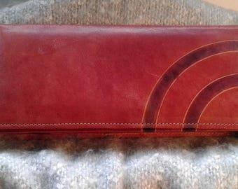 Vintage brown leather clutch bag. 1970s/1980s. Rainbow stripes.