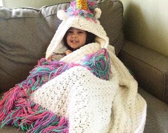Ready to ship! Sale! Ships in 1-3 business days, Free shipping Hooded unicorn blanket , unicorn blanket, rainbow unicorn blanket baby-adult
