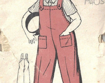 1940s Childrens Vintage Sewing Pattern S1-2 (B21) BOY'S DUNGAREES (C20)