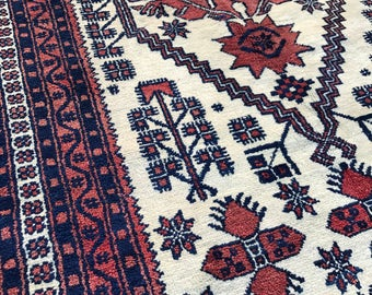 Vintage Anatolian Yagcibedir, Tribal Rug, 3x6, Natural Wool, Coral, Blue