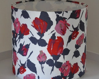 Beautiful hand rolled drum lampshade in vintage Liberty roses fabric