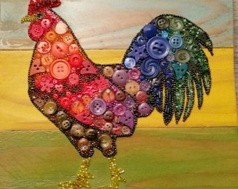 Rainbow Rooster Button Art