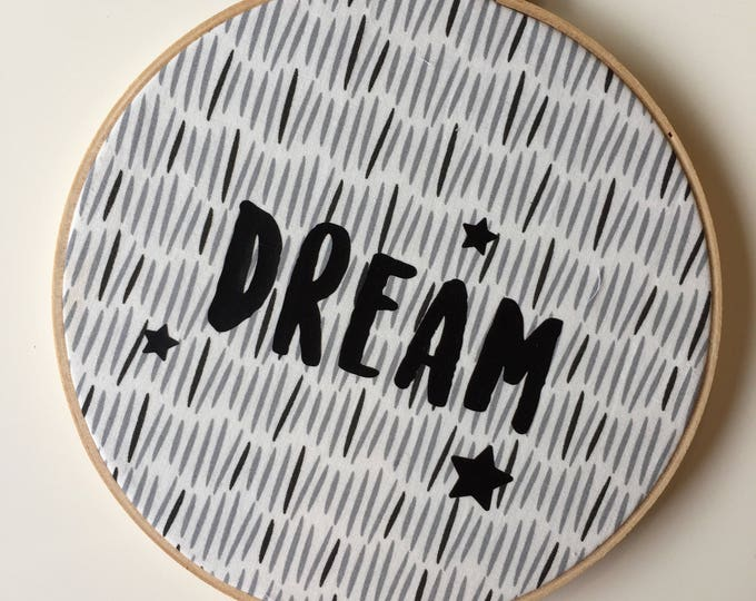 """DREAM 8"""" Wall Hoop Hanging Wall Decor in Comet Fabric"""
