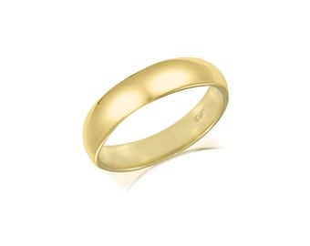 10K Solid Yellow Gold Regular Fit Plain Wedding Band Ring 4.0mm Size 5-13 - Polished Men's Women's