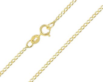 "10K Solid Yellow Gold Flat O-Link Necklace Chain 1.3mm 16-24"" - Round Cable Link"