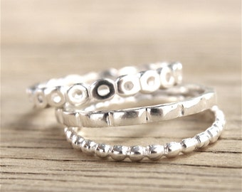 Set of three rings in Sterling Silver 925