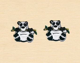 Set of 2 pcs Mini Panda Eating Bamboo Patch Iron On Patches Sew On Appliques