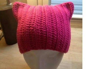 Pink women's march Pussy hat cat ears beanie