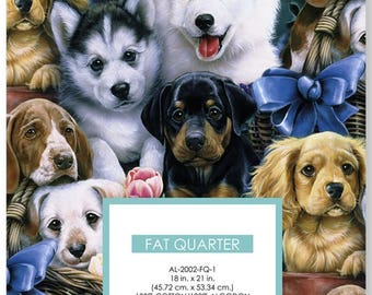 Valentine's Pups Cotton Fat Quarter/david textiles/quilting fabric/dog fabric/sewing/notions
