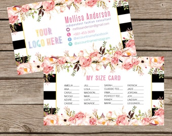 Printable My Sizes Card Size Cards Business Card Business Cards Home Office Approved Colors Digital File LLR016