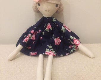 Handmade darling doll, little navy floral