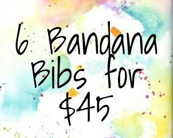 Handmade Bandana Bibs Set of 6 Teething