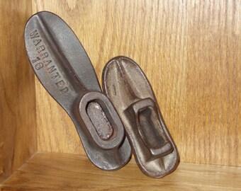 Antique Cast Iron Shoe Forms - Set of 2 - Warranted Size 16 - Child's Size 1 - Vintage Shoe Forms - Cast Iron