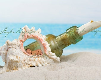 Seashell and bottle on beach digital backdrop template background for newborn baby babies
