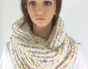 infinity scarf, versatile accessory, cream scarf, snuggly scarf, microfiber scarf, adaptable scarf, feminine scarf, affordable accessory,