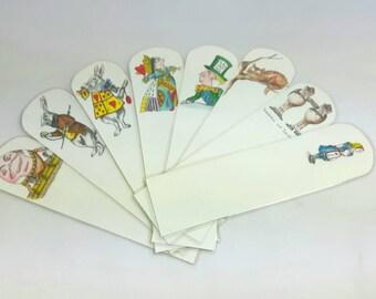 Alice in Wonderland Bookmarks, Set of 8, Hand Drawn, Bookworm gifts, Alice in Wonderland, Mad Hatter, Cheshire Cat, Queen of Hearts