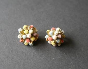 Vintage 1950s multicoloured cluster beaded glass clip on earrings