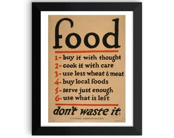 VINTAGE POSTER | wpa poster | food poster | buy it with thought | food rules poster | World War I poster | framed print | framed poster