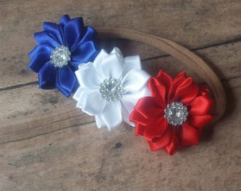 Red, white, and blue, independence, July 4th nylon headband
