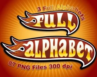 Hot Wheels - Full Alphabet Clipart - 87 png files 300 dpi - 3 Full Alphabets 2 Backgrounds.