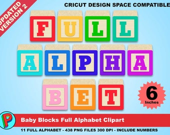 Baby Blocks - Full Alphabet Clipart - 438 png files 300 dpi for your Baby Party or Scrapbooking