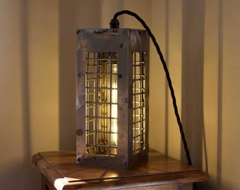 """Vintage 'TALL' Lantern Cage Light with Vintage LED Bulb by """"Timber Bros""""."""