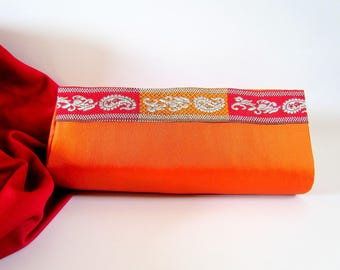 Orange Satin Clutch Bag, Coral Purse, Mother's Day Gift Idea, Boho Clutch, Classy Unique Clutch, Statement Clutch, Modern Clutch, Medium Bag