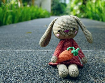 Cinnamon & orange amigurumi bunny - Handmade crochet rabbit