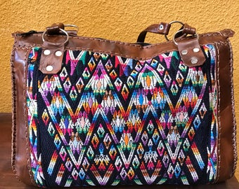 Sale!!Handbag leather and handwoven huipil