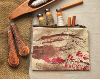 Zipper bag, Bobbin case, Zipper pouch, Sewing supplies pouch, Hand painted red brown pouch,Sewing thread case,Weaving organiser, Pencil case