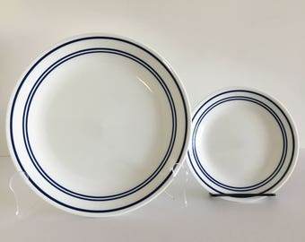Set of 8- Corelle Blue Classic Cafe- 4 Dinner Plates/ 4 Salad Plates- Vintage Kitchen