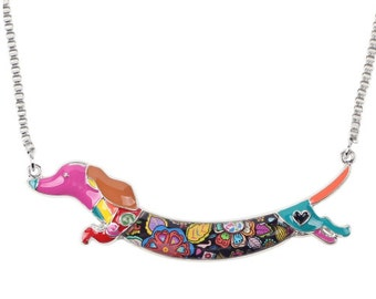 Dachshund Jewelry - Dachshund Necklace- Dachshund Art - Dachshund Watercolor - Dachshund Figurine- FREE Shipping