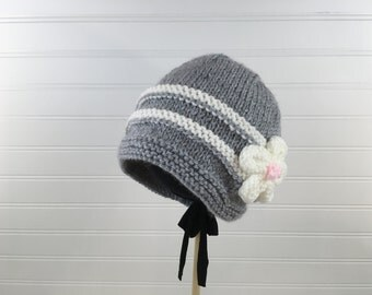 Grey Knit Hat with White Stripes and Knit White Flower