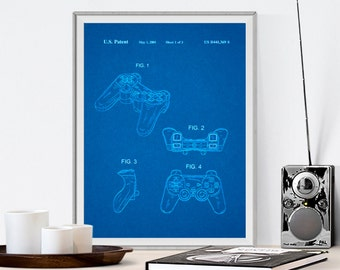 Playstation Controller, Patent Prints, Patent Posters, Patent Art, Blueprints, Patent, Playstation Art, Game Room Decor, Gifts for Him